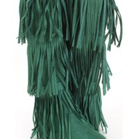 Green Faux Suede Fringe Tiered AMIclubwear Boots @ Amiclubwear Boots Catalog:women's winter boots,leather thigh high boots,black platform knee high boots,over the knee boots,Go Go boots,cowgirl boots,gladiator boots,womens dress boots,skirt boots,pink boo
