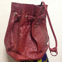 70's vintage BALLY genuine ostrich wine red hexagonal by eNdApPi