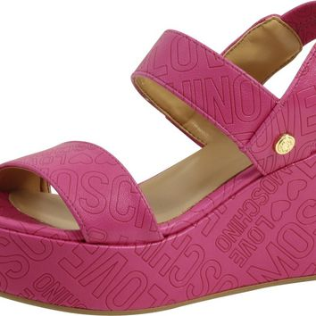 Love Moschino Women's Embossed Logo Fuchsia Wedge Heels Sandals Shoes