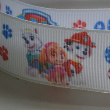 Paw Patrol 7/8 inch Everest and Skye Grosgrain Ribbon White Background
