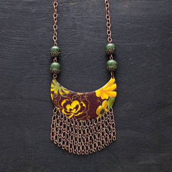 Earthy Floral Tin Fringe Necklace with Antique Copper Chain Fringe and Green Stone Beads, Fringe Jewelry, Copper Necklace, Bib Necklace