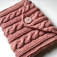 "Nook  case Galaxy Tab cover Kindle Fire Lenovo Acer Icona Toshiba Thrive PlayBook eReader 7"" tablets bag knit in Rose Cream/ Light Coral"