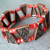 Southwestern Double Strand Stretch Bracelet - Copper Metal Connectors with Red Seed Beads - Double Strand Bracelet - Southwest Bracelet