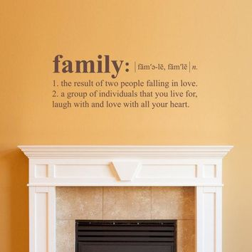 Family Definition Wall Decal - Dictionary definition Decal - Family Wall Decal - Medium