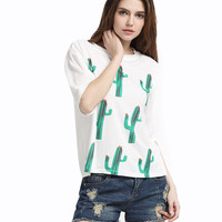 White T-Shirt with Cactus Print