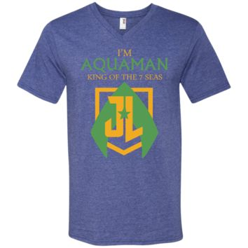AQUAMAN t shirt - king of 7 seas t shirt 982 Anvil Men's Printed V-Neck T-Shirt