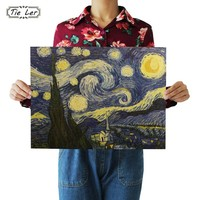 TIE LER Impressionist Masterpiece Painting Starry Sky Poster Paper Adornment Wall Sticker Paper Craft