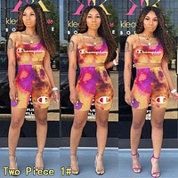 Champion Summer Fashionable Women Casual Tie-Dye Gradient Sleeveless Top Shorts Set Two-Piece 1#