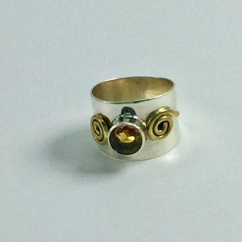Citrine Cigar band ring size 6