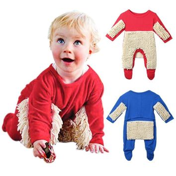 MUQGEW one piece Baby Boys Girls Mop Clothes Long Sleeve Swob Romper Jumpsuit Outfit Funny Baby Clothes Macacao Q06