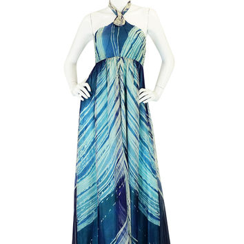 c1974 Thea Porter Couture Hand Painted Silk Dress