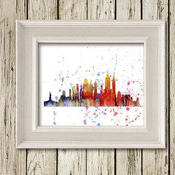 SKYLINE CITYSCAPE New York Watercolor Print Printable Instant Download Home Decor Wall Art SL001