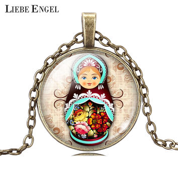 LIEBE ENGEL Vintage Antique Jewelry Glass Cabochon Silver Long Chain Necklace Tradition Russian Doll Picture Pendant Necklace