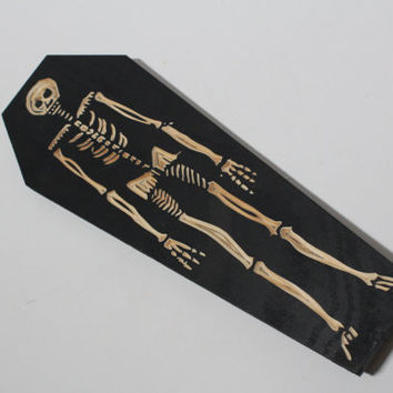 Skeleton Coffin | Carved in Wood Wall Art | Weird Home Decor | Macabre | Skull | Bones | Halloween | Creepy | Woodcut