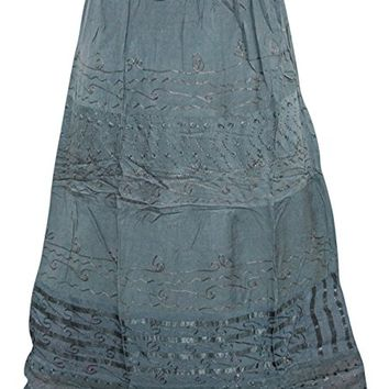 Womens Medieval Skirt Grey Embroidered Gyspy Hippie Long Skirts