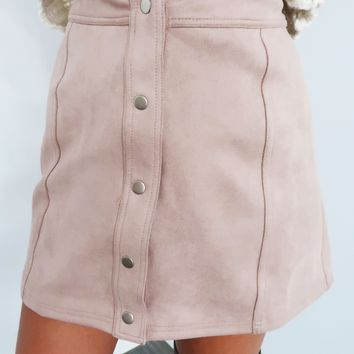 Button on Down Skirt: Soft Pink