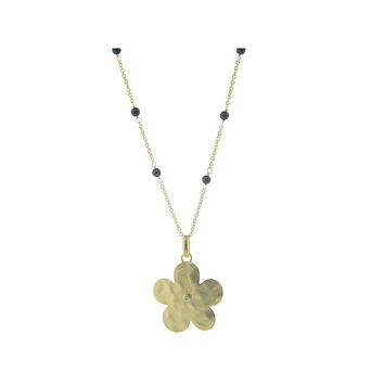 Hammered Gold Plated Sterling Silver Flower of Life & Black Onyx Stone Necklace   Fronay, 16+1.5‰