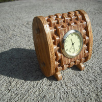 Plywood woven desk clock