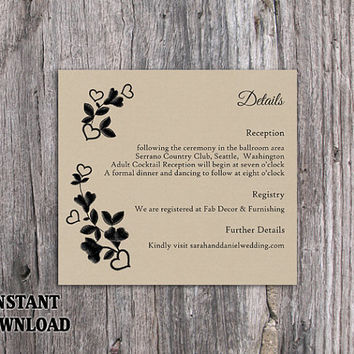 DIY Lace Wedding Details Card Template Editable Word File Download Printable Burlap Vintage Black Details Card Floral Rustic Enclosure Card