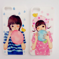 "Couple Iphone 5 Cases set - "" Bolloon Boy and Girl "" Valentine for his & her phone"