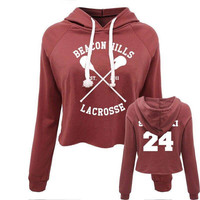 Hot 2017 Casual Women Crop Top Hoodie Teen Wolf Stiles Stilinski Sweatshirt Hoody Long Sleeve Grils Pullover Hooded Femme Shirts