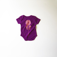 Flower in Peach on Purple Organic Bodysuit