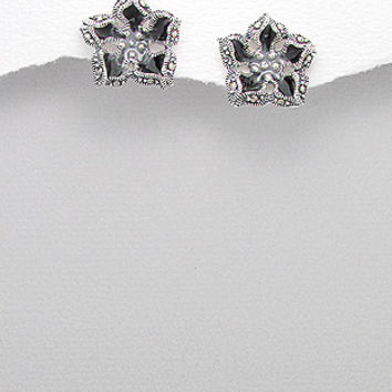 Sterling Silver with Marcasite Flower Stud Earrings -- Color: Black
