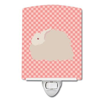 Fluffy Angora Rabbit Pink Check Ceramic Night Light BB7959CNL