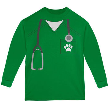 Halloween Vet Veterinarian Scrubs Costume Green Youth Long Sleeve T-Shirt
