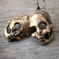 Dead barbie earrings dangling skulls titanium & by AnnaSiivonen