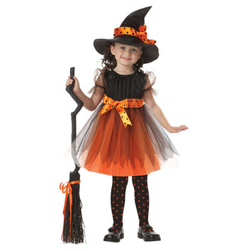 2016 Girl 1 Witch Dress + 1 Hat Cap  Dresses Tutu Halloween Cosplay Costume FREE SHIPPING 12-20days