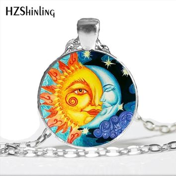 Sun And Moon Necklace Handmade Pendant