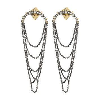 Alexis Bittar Crystal Encrusted Long Draping Fringe Post Earrings