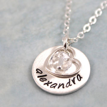 Mother's Day Gift, Personalized Necklace for New Mom, Mommy Necklace, New Baby Necklace, Sterling Silver Jewelry, Birthstone Necklace
