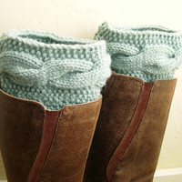 Pastel mint Boot Cuffs - Handknit Mint Leg Warmers - Cable knit boot toppers - Winter fashion 2014