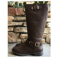 Never Failing Buckle Detail Brown Riding Boots