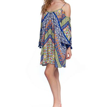Nanette Lepore Scarf Patchwork Off-the-Shoulder Tunic Swimsuit Cover Up | Dillard's