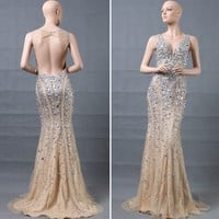 DL71616 Luxury Backless Mermaid Long Crystal Stone Evening Dress 2015, View Evening Dress, Chaozhou Choiyes Evening dress Product Details from Chaozhou Choiyes Evening Dress Co., Ltd. on Alibaba.com