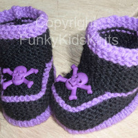 Baby Goth Booties with SKull and Crossbones, Goth/emo/punk