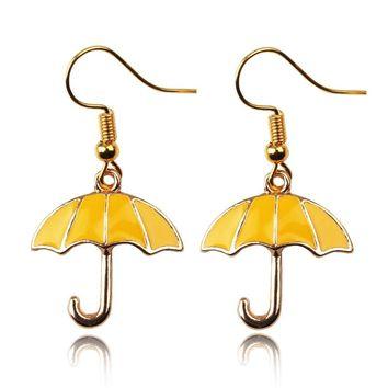 Fashion Jewelry Alice in Wonderland Charm Earrings How I Met Your Mother Yellow Umbrella Mother Earrings For Woman Girls Gift