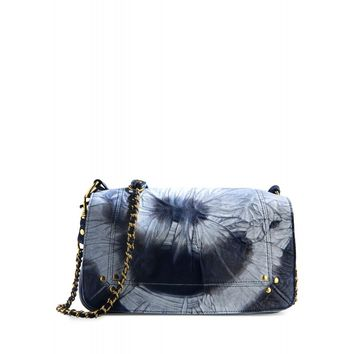 Jerome Dreyfuss Bobi Tie-Dye Shoulder Bag - Blue Leather Chain Strap Bag - ShopBAZAAR