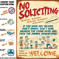 Living Dead Zombie Apocalypse - NO SOLICITING SIGN Brand New Design: Custom Options, Durable, Waterproof, Ready to Hang, Outdoor Metal Sign