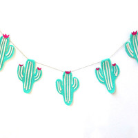 Super fun felt cactus banner, southwesten cacti banner in bright green, hot pink flowers