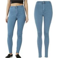 LMFONT Fashion Women High Waist Skinny Slim Denim Jeans Trouser Long Pencil Pants Stretchy
