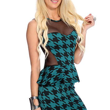 Teal Black Houndstooth Mesh Peplum Sexy Party Dress