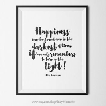 Harry Potter Print Printable Wall Art Print Printable Quote home decor typography Harry Potter Happiness can be found... 8x10inch.