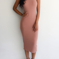 Spring/Fall Sleeveless High-necked  Midi Bodycon Pencil Dress