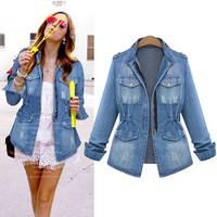 Denim Frayed Sleeve Jacket With Pockets