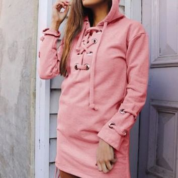 Plain Long Sleeve Women's Hooded Dress