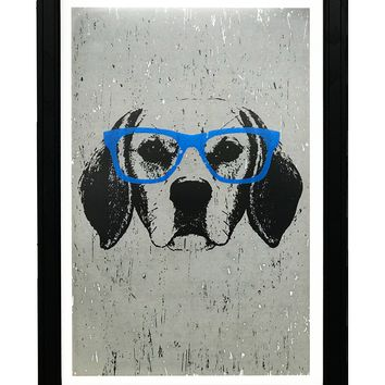 """Beagle with Blue Glasses Art Print / Poster - 13x19"""""""